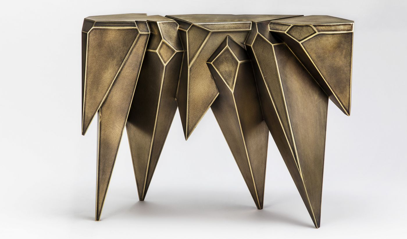 Craftmenship in bronze from Garrido's brothers garrido gallery New Garrido Gallery's Collectible Designs at The Salon Art+Design CRYSTAL CONSOLE IN ANTIQUE BRONZE FINISH