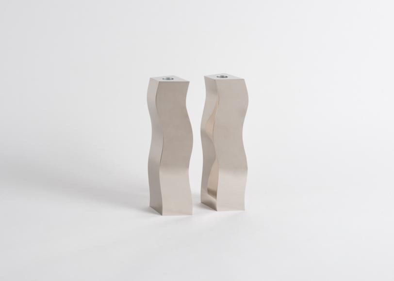 Nickel plated metal sculptures from Garrido brothers garrido gallery New Garrido Gallery's Collectible Designs at The Salon Art+Design candlesjpeg