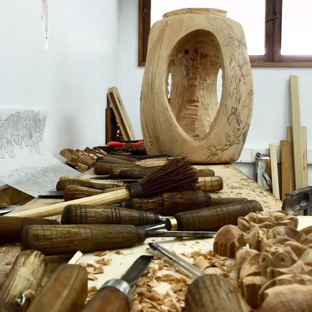 Wood work in progress at Culture's Project wood carving Ancient Art of Wood Carving Represented at Maison et Objet 2019 Wood Carving in Process Ancient Art of Wood Carving Represented at Maison et Objet 2019