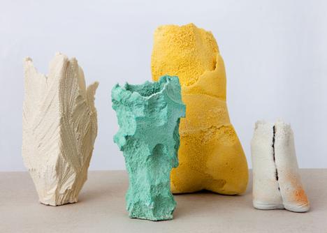Michal Fargo: best artisan in ceramic  ceramic art Michal Fargo: one of the Best Artisans in Ceramic Art Foam shapes vases by Michal Fargo dezeen 15