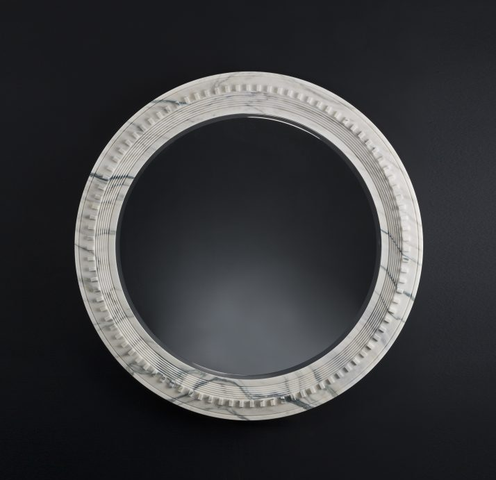 Precious Memories of Karl Lagerfeld's Talents Sculpture Exhibition - Arabescato Marble Mirror - karl lagerfeld Karl Lagerfeld: Last Emblematic Sculptures for Carpenters Workshop Precious Memories of Karl Lagerfeld   s Talents Sculpture Exhibition Arabescato Marble Mirror  e1550677218481